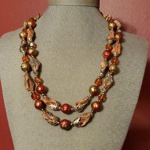 Vintage Flame stone & Rose necklace Japan